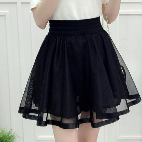 Black Mesh Tulle Umbrella Skirt