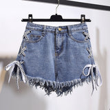 Vintage Lace Up Tassel Denim Shorts