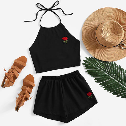Rose Embroidered Tie Back Halter Top & Short