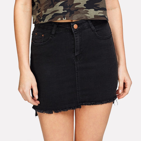 Black Mini Denim Skirt