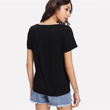 Black V-Neck Crisscross Front Blouse