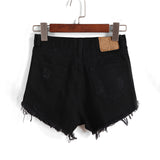 Black High Waisted Ripped Denim Shorts
