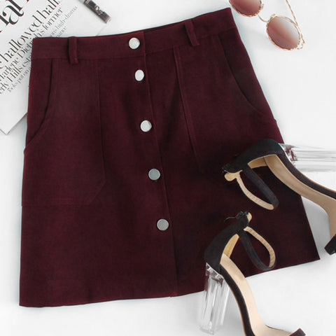 Plain Burgundy A-Line Mini Skirt