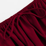 Burgundy Ruffle Off Shoulder Crop Top