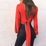 Deep V-Neck Backless Blouse