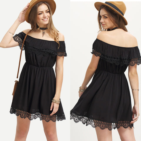 Butterfly Sleeve Lace Patchwork Dress