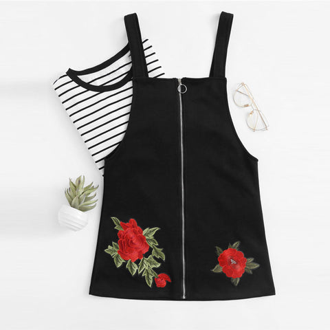 Rose Embroidered Sheath Dress