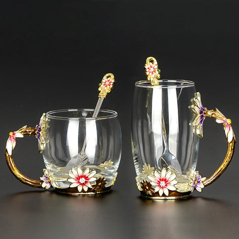 Golden Lilly Mug & Spoon Set