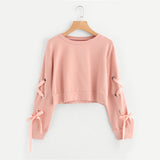 Pink Lace Up Cropped Sweatshirt