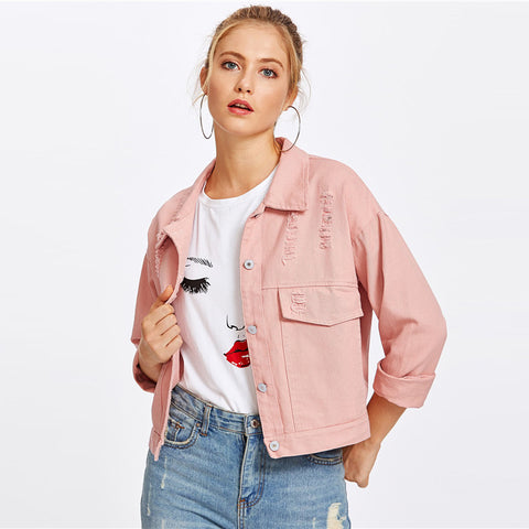 Pink Ripped Denim Jacket
