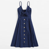 Navy Front Knot Cami Dress