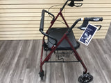 Heavy duty red bariatric large padded seat rollator