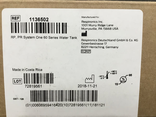 RP, PR System One 60 Series Water Tank