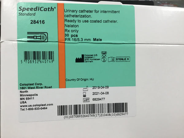 "Male catheter speedicath 16"" French"