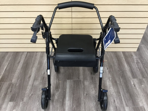 Rollator with removable padded seat back