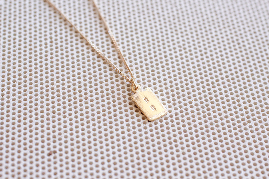 14k Letter Tag Necklace