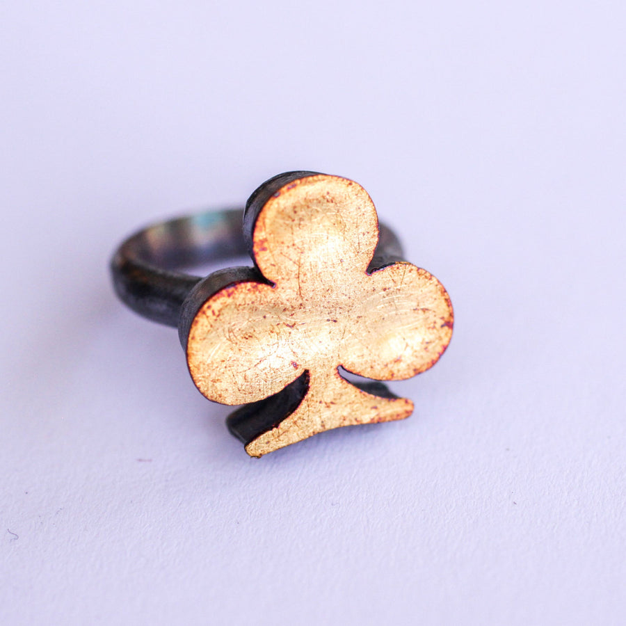 Large Clover Hollow Form Ring