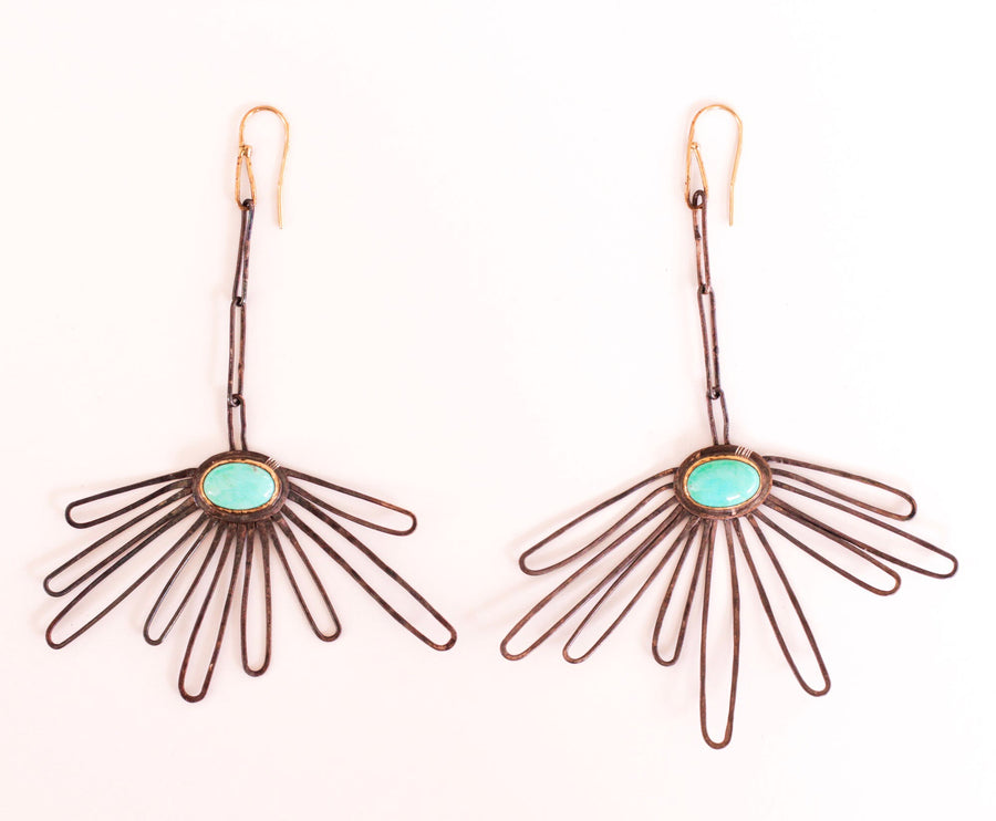Drop Petal Turquoise Earrings