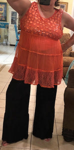 Coral Sleeveless Ruffle Top