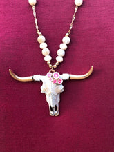 Floral Bull Skull Necklace