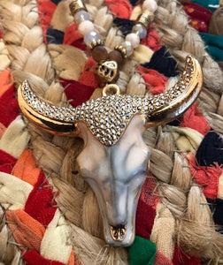 Rhinestone Bull Skull Necklace