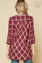 Burgundy Plaid Top