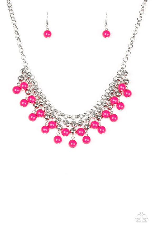 Friday Night Fringe Pink Necklace - Paparazzi Accessories