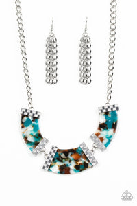 HAUTE-Blooded Blue Acrylic Necklace - Paparazzi Accessories - jazzy-jewels-gems
