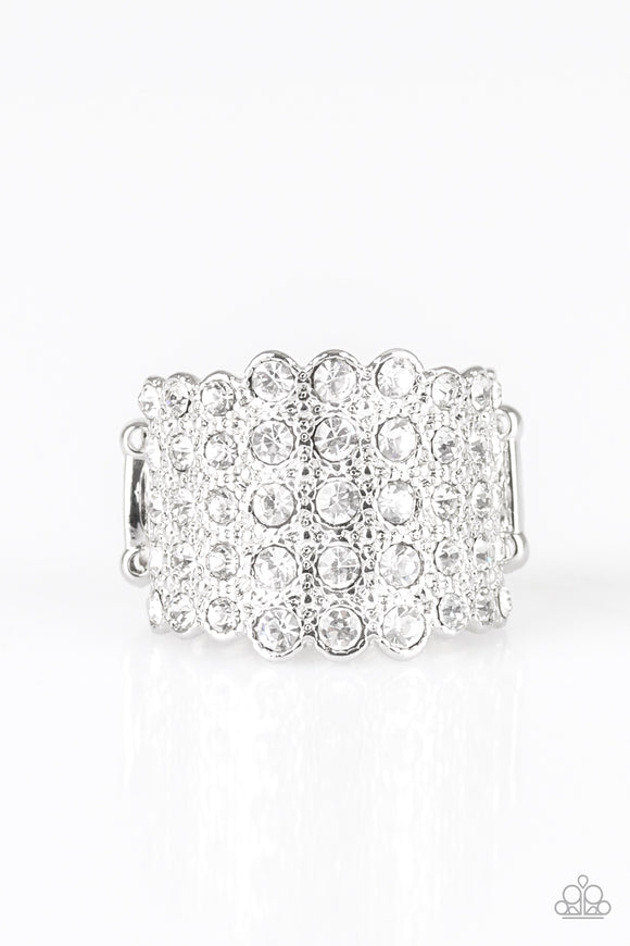 Million Dollar Masquerade White Rhinestone Ring - Paparazzi Accessories