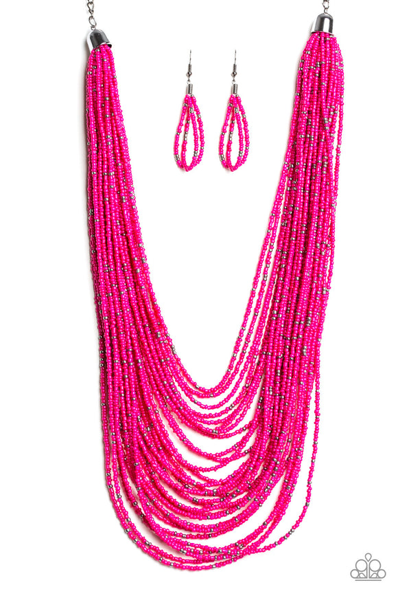 Rio Rainforest Pink Seed Bead Necklace - Paparazzi Accessories