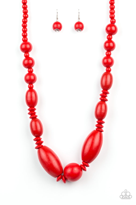 Summer Breezin Red Wooden Necklace - Paparazzi Accessories