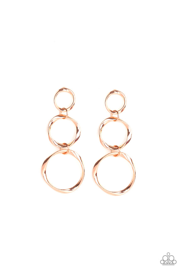 Three Ring Radiance Copper Earring - Paparazzi Accessories