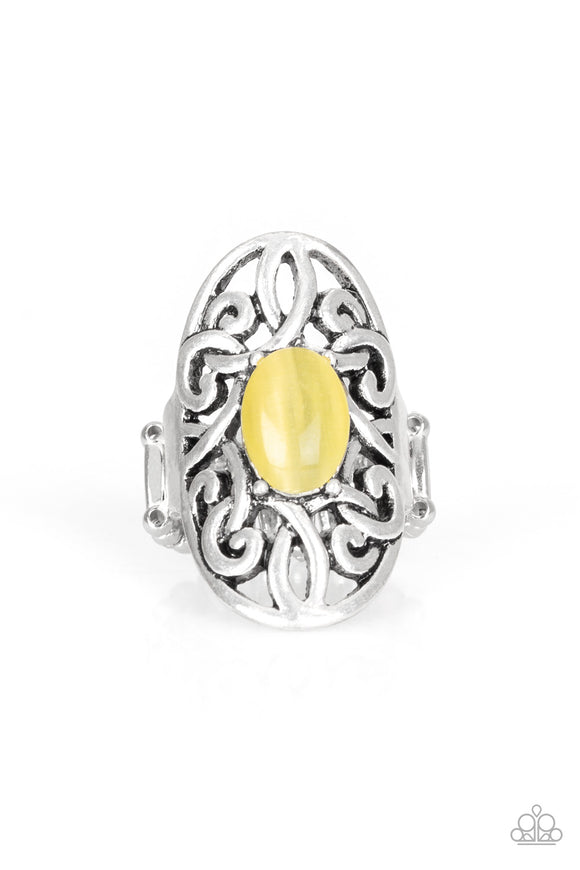 GLEAM Big Yellow Cat's Eye Ring - Paparazzi Accessories