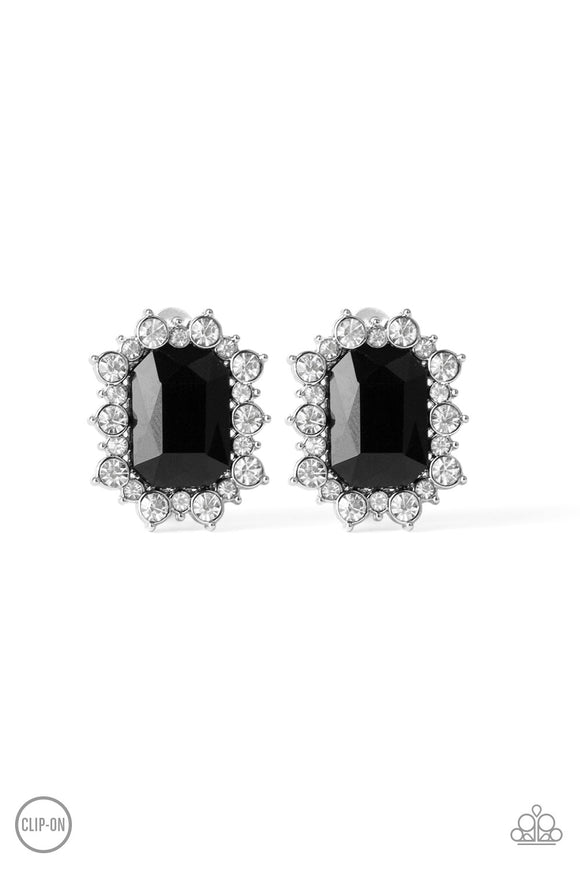 Prime Time Shimmer Black Clip-On Earring - Paparazzi Accessories