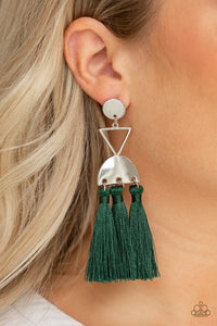 Tassel Trippin Green Earring - Paparazzi Accessories
