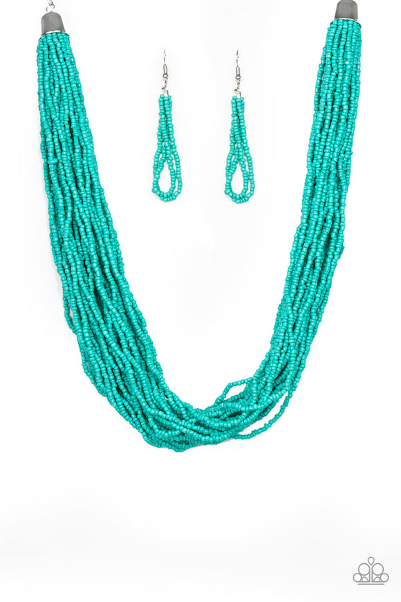 The Show Must CONGO On! Blue Seed Bead Necklace - Paparazzi Accessories