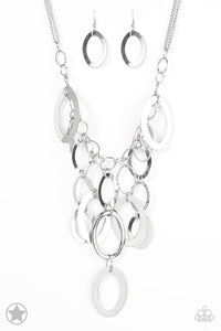 A Silver Spell Silver Blockbuster Necklace - Paparazzi Accessories - jazzy-jewels-gems