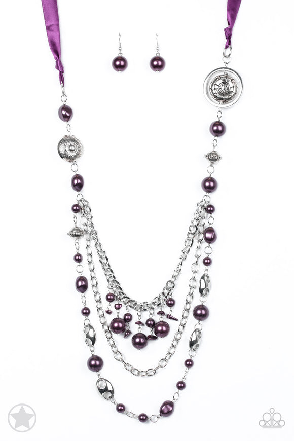 All The Trimmings Purple Blockbuster Necklace - Paparazzi Accessories - jazzy-jewels-gems