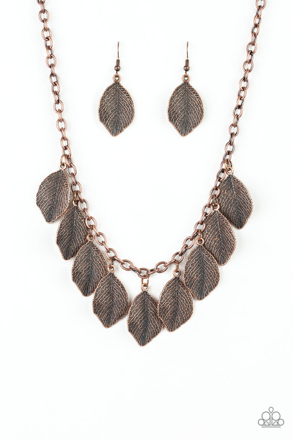 A True Be-LEAF-er Copper Necklace - Paparazzi Accessories - jazzy-jewels-gems