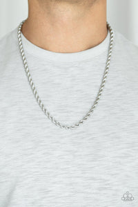 Double Dribble Silver Urban Necklace - Paparazzi Accessories