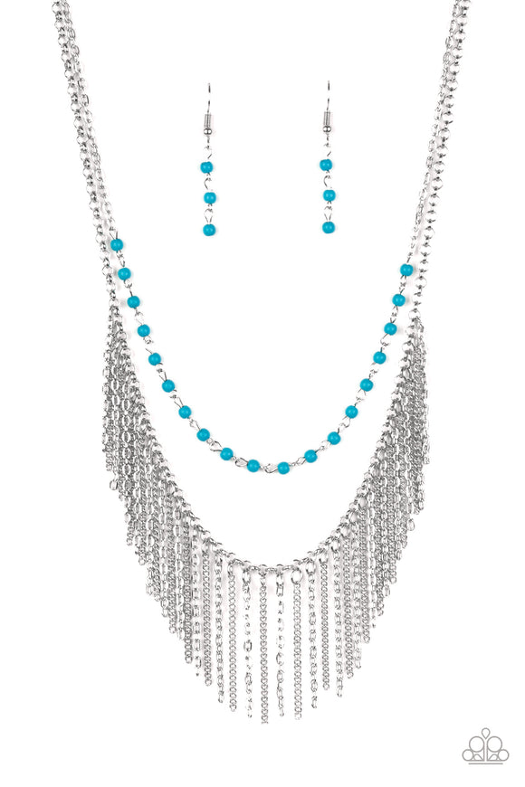 Fierce In Fringe Blue Necklace - Paparazzi Accessories