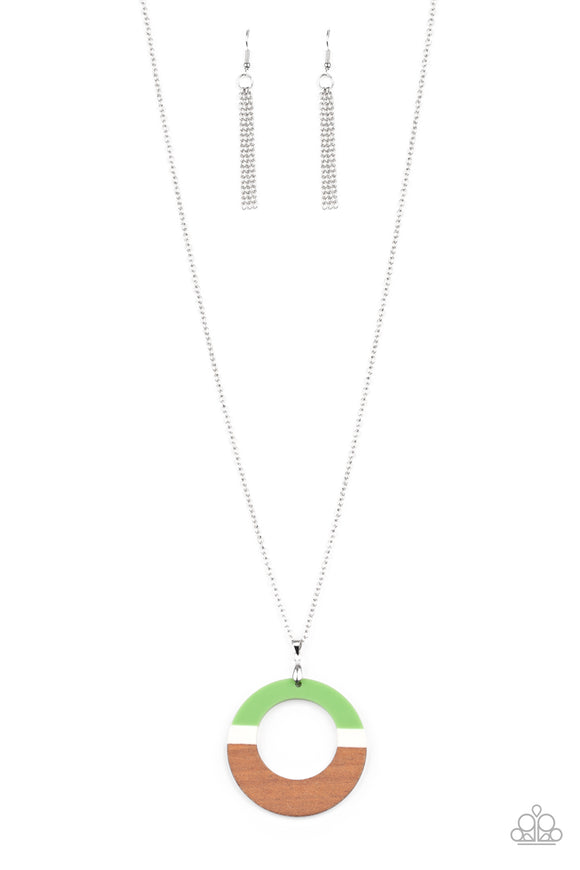 Sail Into The Sunset Green Necklace - Paparazzi Accessories