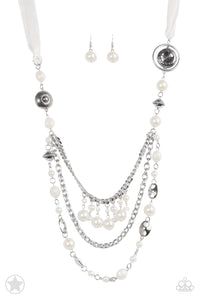 All The Trimmings Ivory Blockbuster Necklace - Paparazzi Accessories - jazzy-jewels-gems