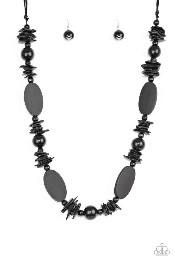 Carefree Cococay Black Wooden Necklace - Paparazzi Accessories