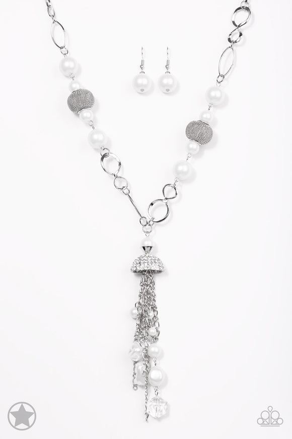 Designated Diva White Blockbuster Necklace - Paparazzi Accessories - jazzy-jewels-gems