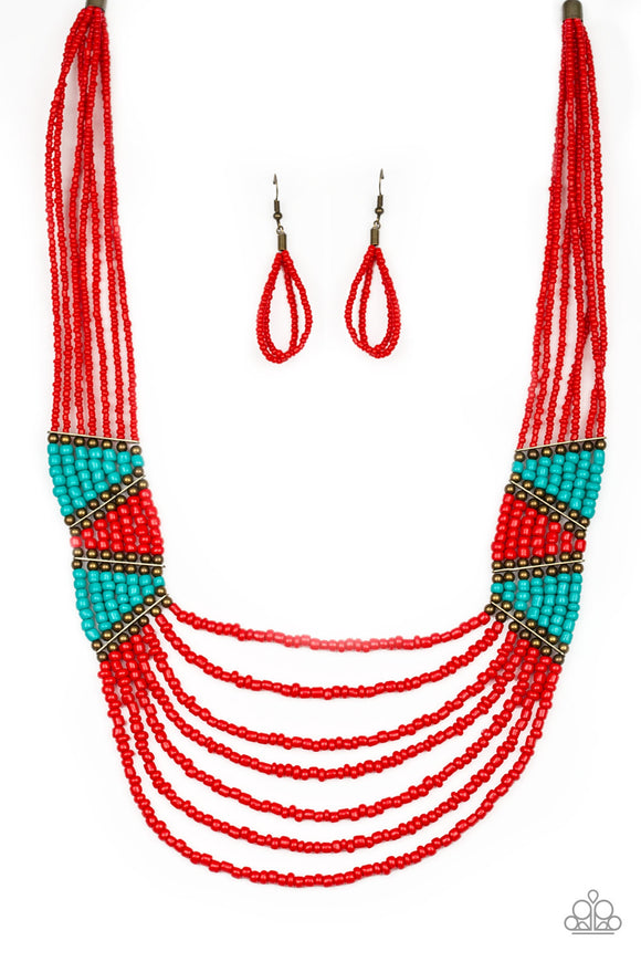 Kickin It Outback Red Seed Bead Necklace - Paparazzi Accessories