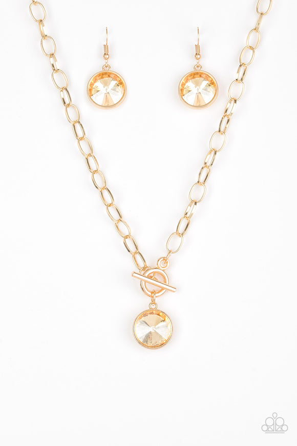 She Sparkles On Gold Necklace - Paparazzi Accessories
