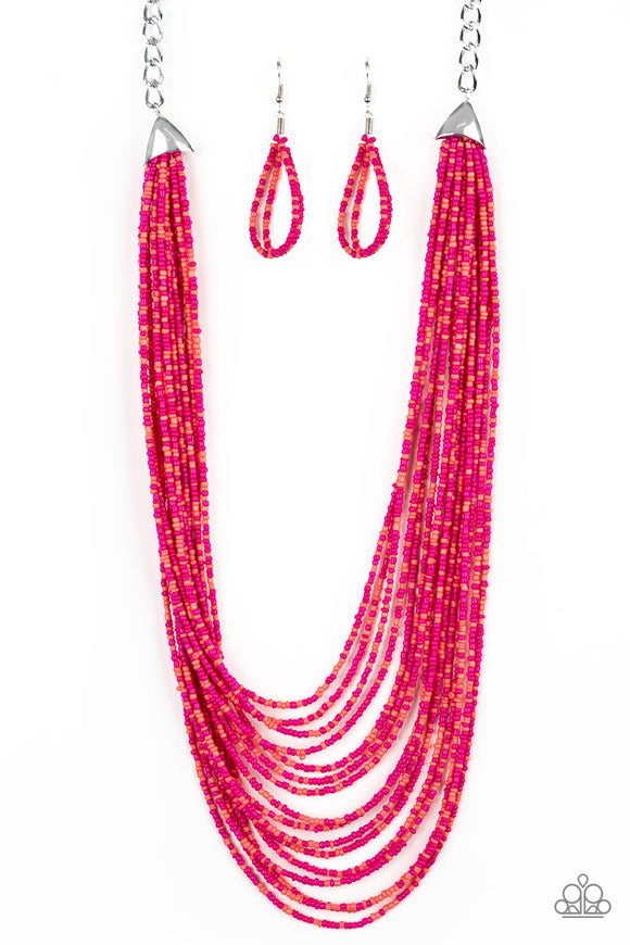 Peacefully Pacific Multi Seed Bead Necklace - Paparazzi Accessories - jazzy-jewels-gems