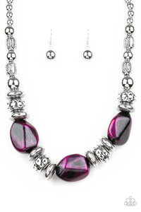 Colorfully Confident Purple Necklace - Paparazzi Accessories - jazzy-jewels-gems