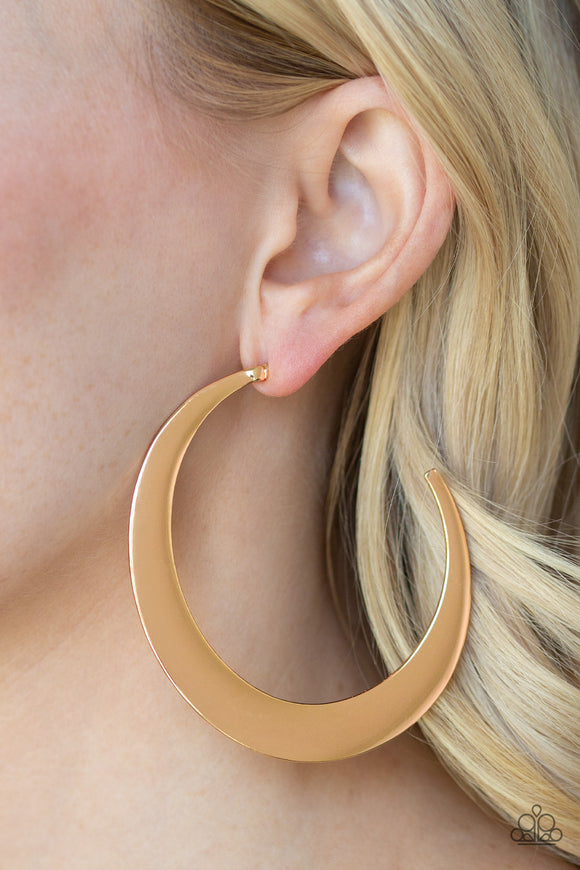 Moon Beam Gold Hoop Earring - Paparazzi Accessories
